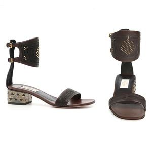 Valentino Leather Studded Ankle Cuff Sandals 37